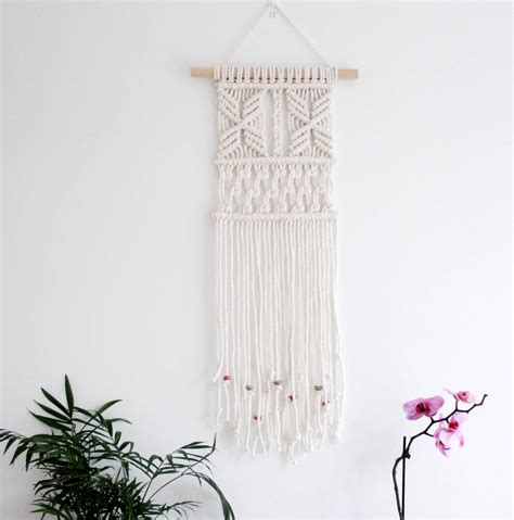 beaded wall hanging beaded macrame wall hanging by tent living