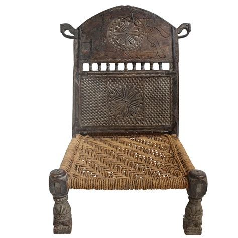 antique afghan chieftain ceremonial carved chair with