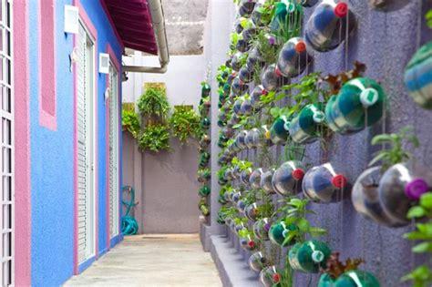 Soda Bottle Garden Wall Spunky Urban Wall Garden Created From Recycled Plastic