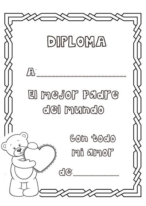 dia de los padres coloring pages dibujos para colorear diploma al mejor padre del mundo