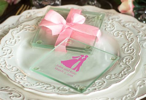 Wedding Favors Glass Coasters by Personalized Glass Coasters