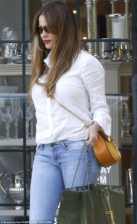 Sofia Blouse sofia vergara stuns in blouse and flares on way to