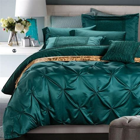 designer bed sheets luxury bedding set blue green duvet cover bed in a bag