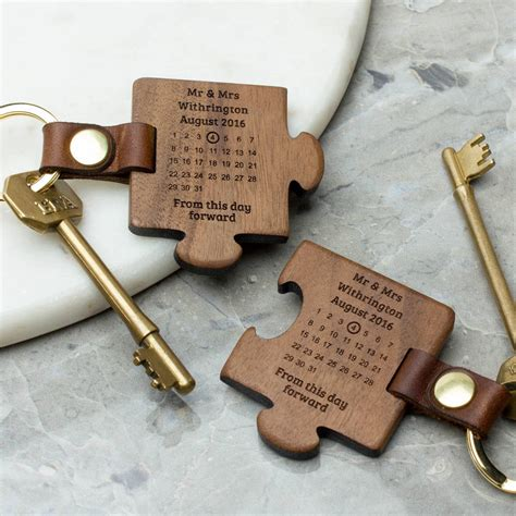 wedding anniversary activity ideas personalised wooden wedding keyring set by create gift