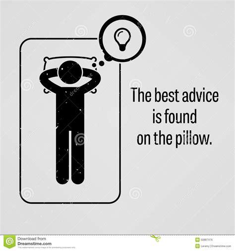 The Best Advice On Services Ive Found by The Best Advice Is Found On The Pillow Stock Vector