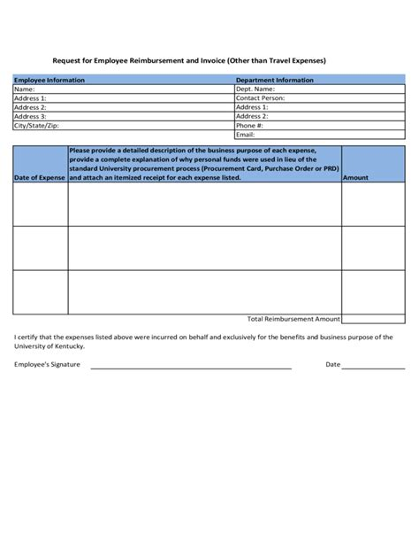 reimbursement invoice template request for employee reimbursement and invoice kentucky