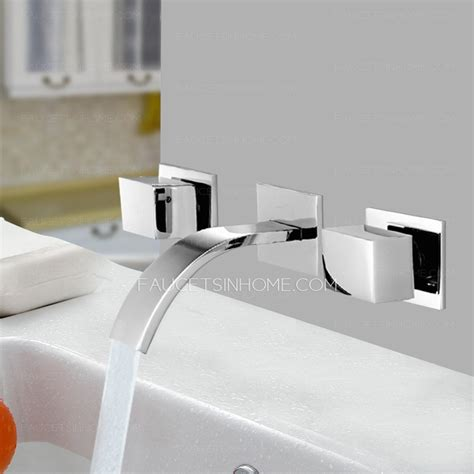 modern three wall mount waterfall bathroom sink faucet
