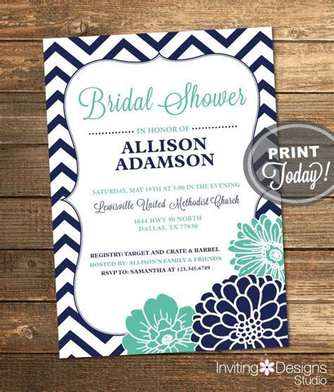 Bridal Shower Invitation, Chevron, Floral, Mint Green