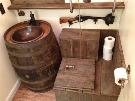 barrel sink rustic toilet   rustic toilets barn