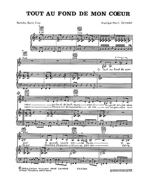 tout au fond partition piano tout au fond de mon coeur de henri salvador piano voix guitare