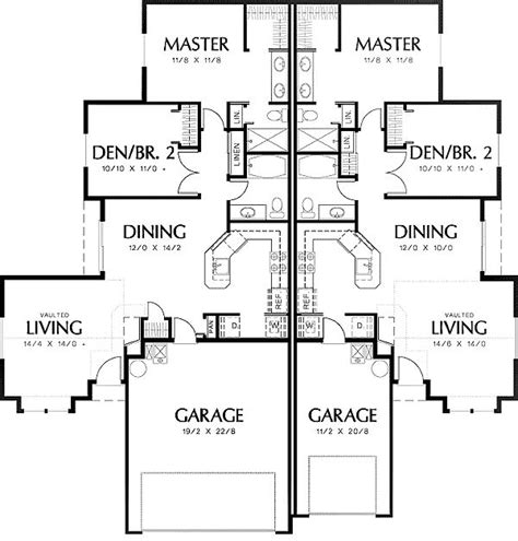 Duplex With Garage Plans by Duplex Floor Plan