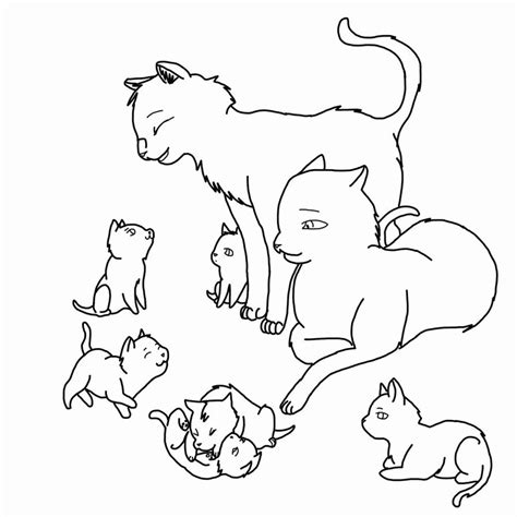 cat family coloring page cat family lineart outlined by rjtheawesome on deviantart