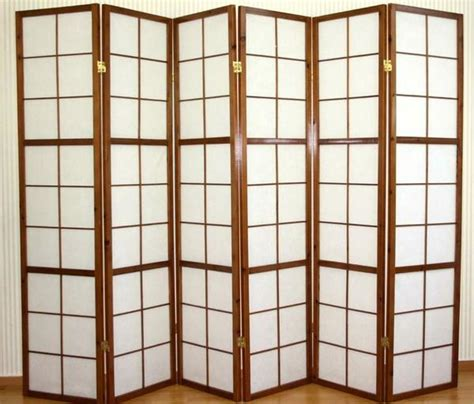 window shoji room divider screen tobacco 6 panel room