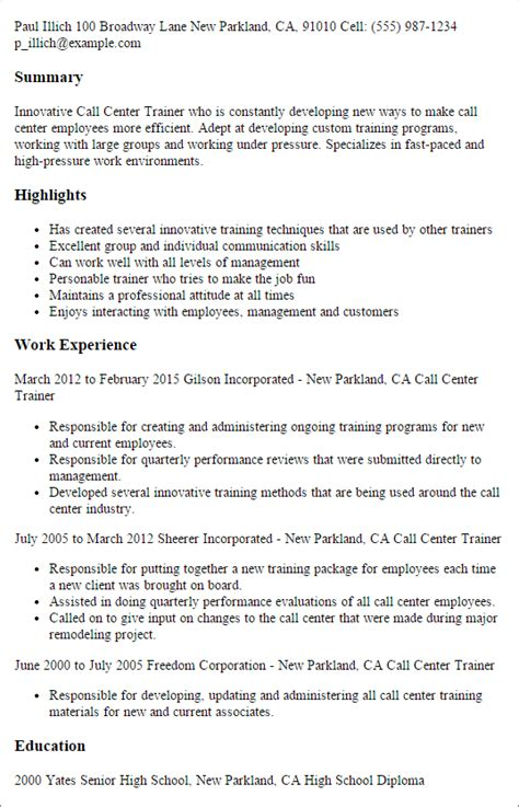 Call Centre Resume Sle Free Professional Call Center Trainer Templates 28 Images