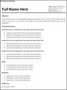 Free Templates For A Resume by Resume Templates Free Printable Sle Ms Word Templates