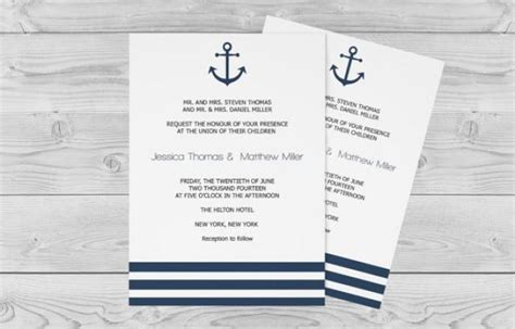 nautical wedding invitation template 5 x 7 navy anchor