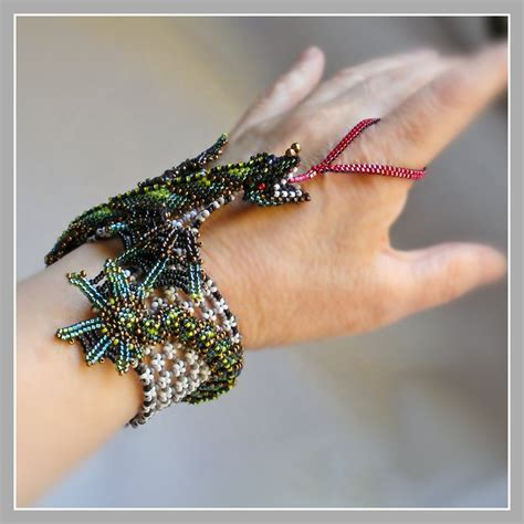 Green Dragon Bracelet   Baby Dragon Fantasy Beaded Cuff. $6,275.00, via Etsy.   Beaded Dragons