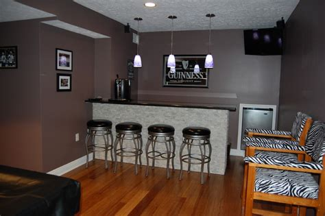 basement remodel to modern sports bar contemporary