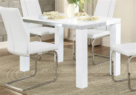 homelegance rohme dining table glossy white chrome 7063