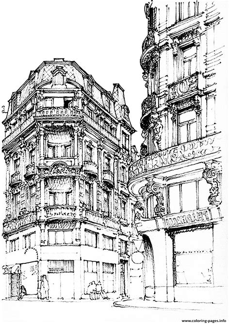 City Adult Paris Street Coloring Pages Printable