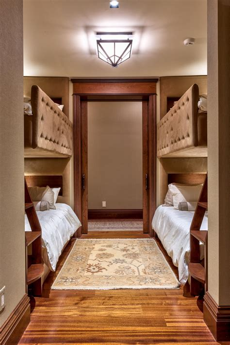 room bunk bed this guest room features two bunk beds that provide plenty of space for visitors tufted taupe