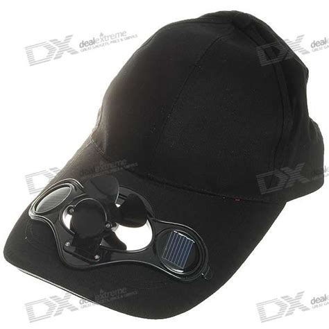 baseball cap w solar powered cooling fan black free