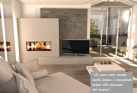 tv su camino una mansarda con dislivello progetto in 3d e foto della