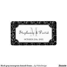 Wedding Address Label Clip by 36 Classic Frames Black White Digital Printable Labels