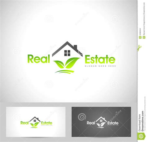 Card With Logo Template by Real Estate Logo Leaf Stock Vector Illustration Of Roof