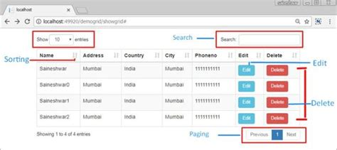 jquery ui layout and data tables using jquery datatables grid with asp net core mvc