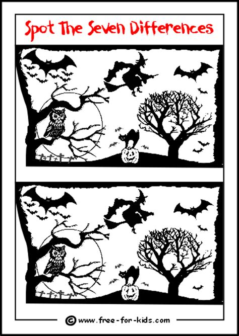printable children s halloween activities halloween spot the difference preview image halloween