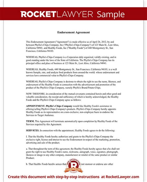 endorsement agreement template endorsement agreement with sle athlete expert