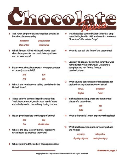 coco trivia chocolate facts trivia game chocolate