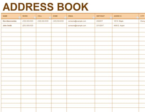 excel address book template address book office templates