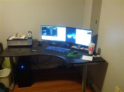 desk for dual monitor setup furniture ideas