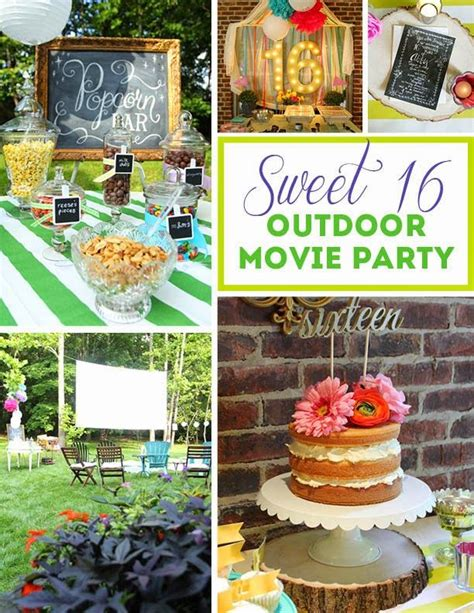 backyard sweet 16 party ideas sweet 16 outdoor movie party children s parties pinterest
