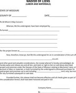 Lien Waiver Template by Missouri Lien Release Form For Free Formtemplate