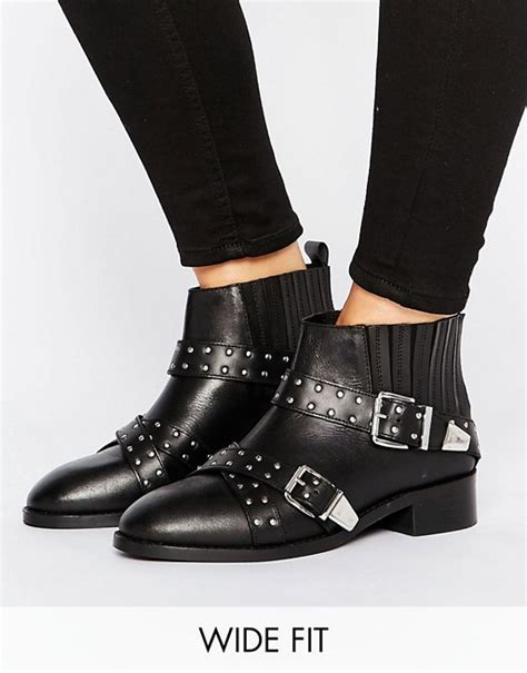 asos asos ashes wide fit studded leather ankle boots