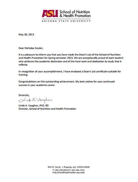 Employee Letter Of Commendation Sle Letter Of Commendation Dean S List Snyder Nicholas Portfolio