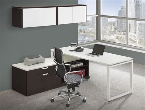 modern l shaped station desk with laminate door wall mount