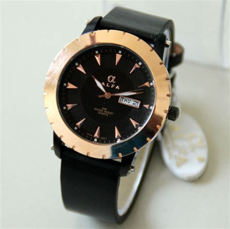 Alfa Ad2 880045 Black List Gold alfa leather jam tangan kulit pria original