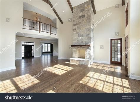 great room  story stone fireplace stock photo