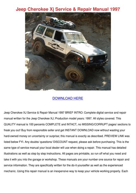 1997 Jeep Grand Service Manual Jeep Xj Service Repair Manual 1997 By Claris