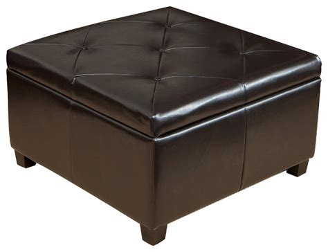 Elegant Brown Leather Storage Ottoman Coffee Table With Brown Leather Ottoman Storage