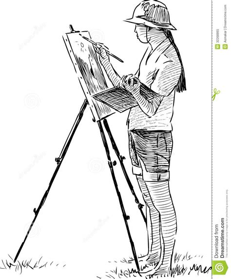 drawing and painting free artist in plein air royalty free stock photo image 32268865