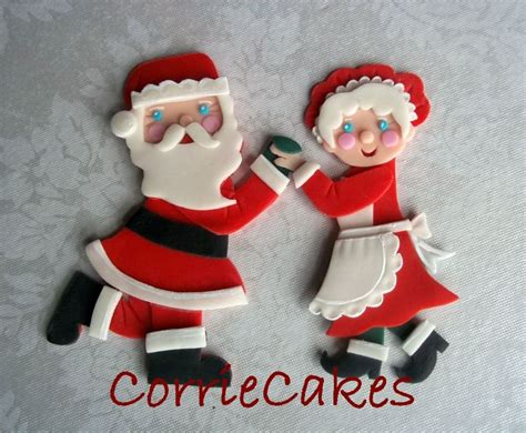 fondant christmas decorations layered fondant santa and mrsclaus decorations the subject of my e tutorial in my shop on