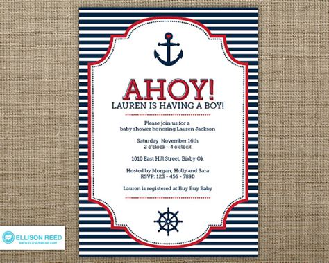 nautical baby shower invitations templates items similar to nautical baby shower invitation