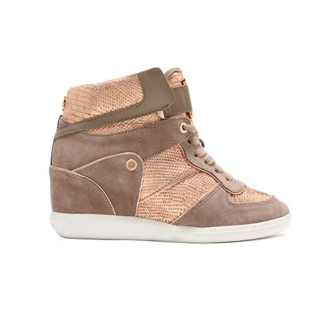 wedge sneakers michael kors nikko high top wedge sneakers in metallic lyst
