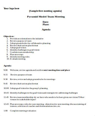 team meeting agenda team meeting agenda template sle generic team meeting
