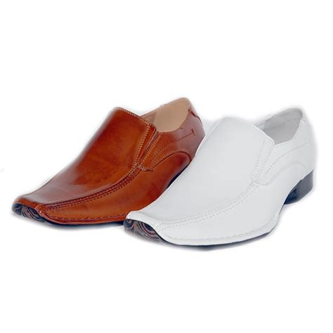 s white slip on dress shoe